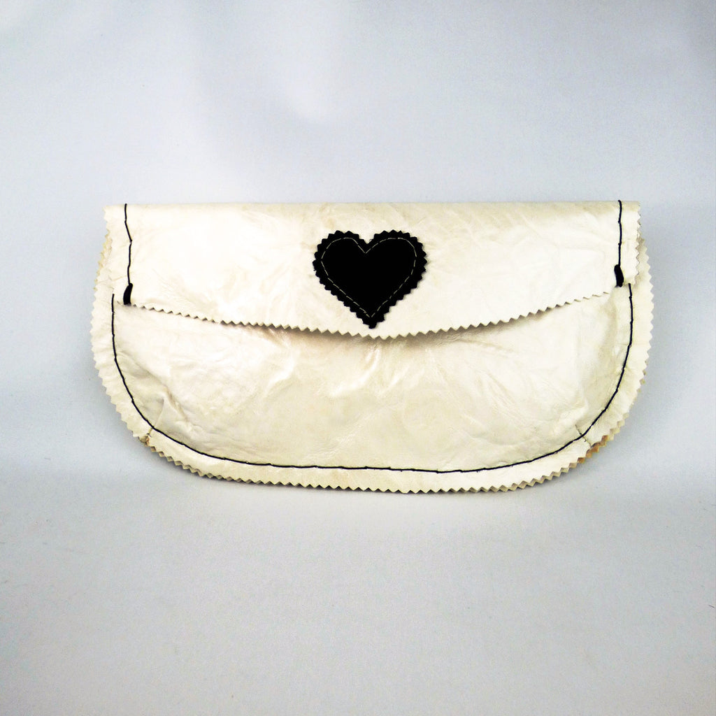 Pearl Ivory Leather Envelope Clutch with Handsewn Black Heart