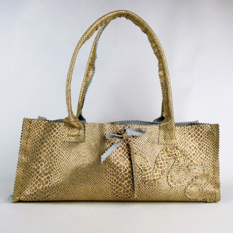 Gold and Brown Reptile Print Leather Night Out Tote with Snake
