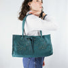 Peacock Blue Leather Tote with Peacock Bird Design