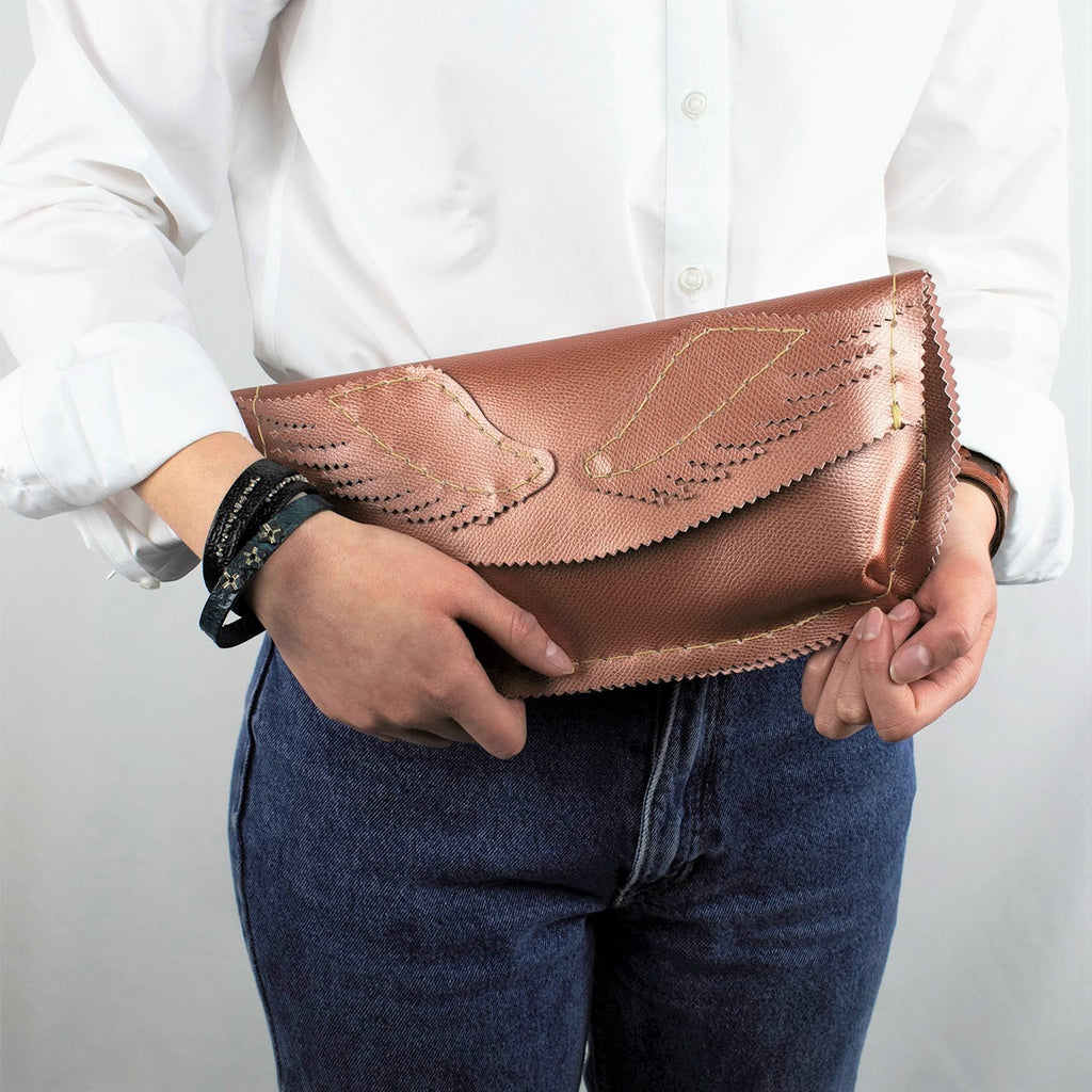 Pink Salmon Leather Envelope Clutch with Pegasus Wings
