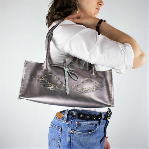 Metallic Lilac Purple Leather Purse with Pegasus Wings