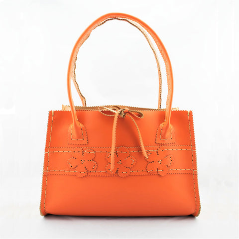 Persimmon Orange Leather  Hand Bag with Floral Motif and Modern Square Shape