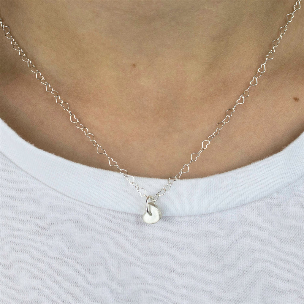 Petite Heart Charm Necklace with Luxurious Matte Finish
