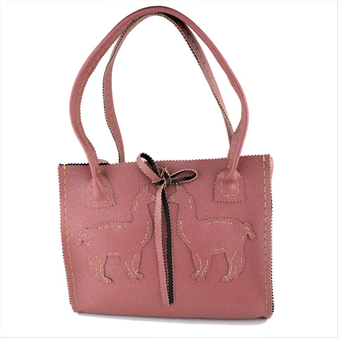 Salmon Pink Leather Handbag with a Silver Shimmer and Handcut with Llama's
