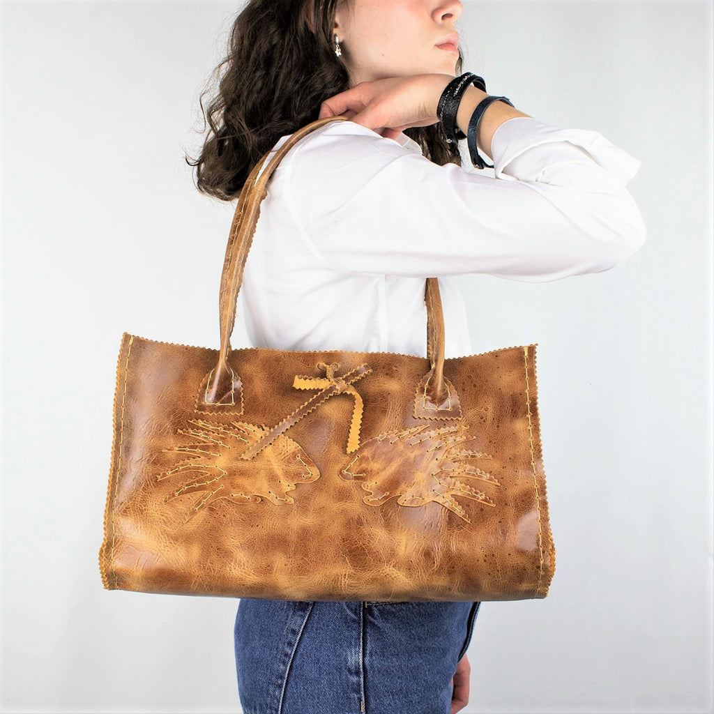 Porcupine Purse in Cognac Brown Distressed Leather