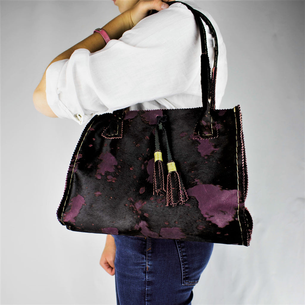 Overdyed Purple Plum Brindle Fur Leather Tote with Tassels