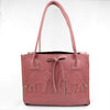Mauve Pink Leather Handbag with Elephants and Silver Shimmer