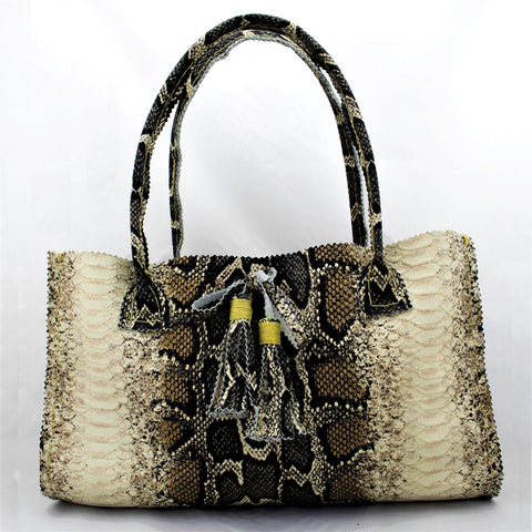 Python Snake Skin Printed Leather Purse with Hand Tied Tassels