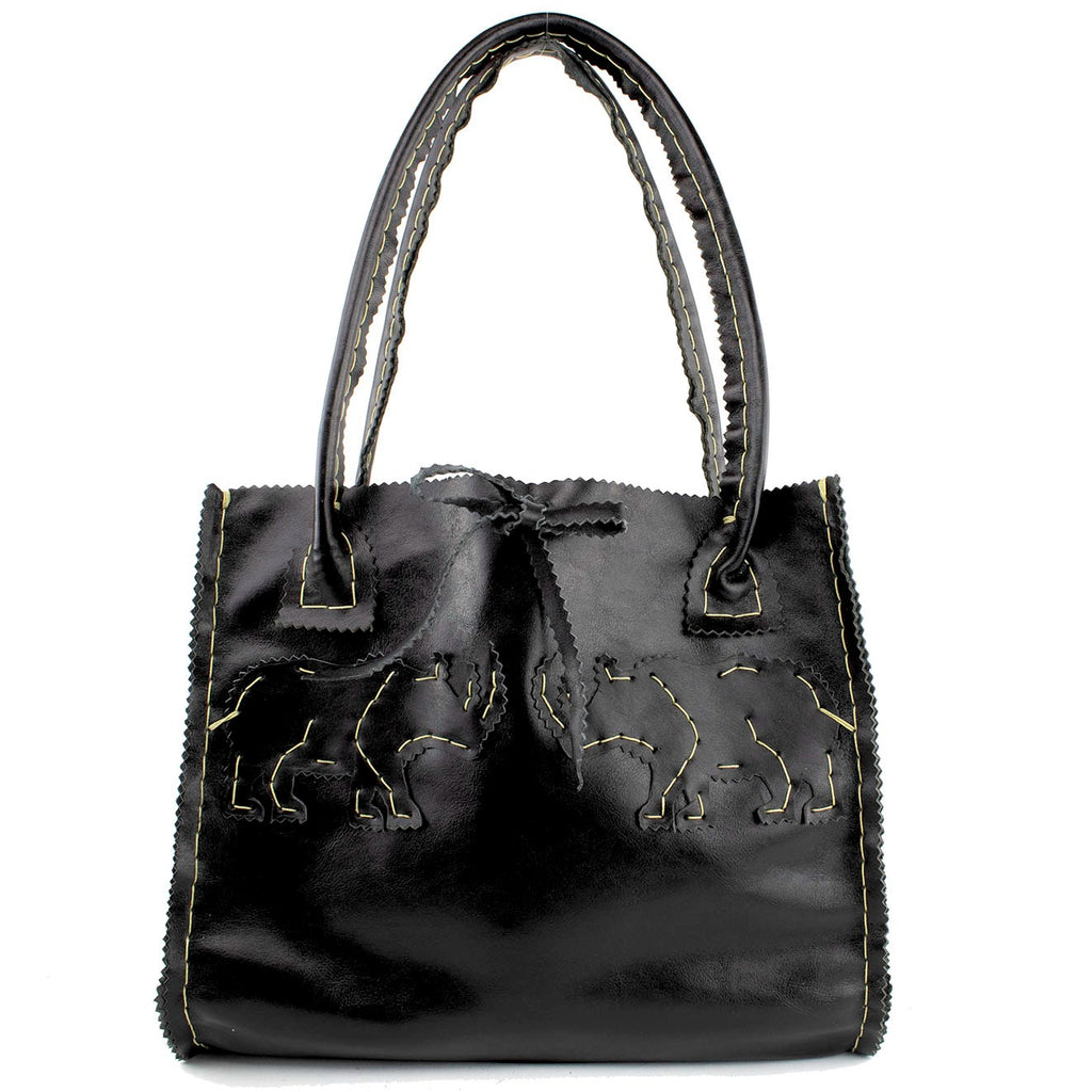 Rhino Square Tote in Black  Leather