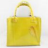 Shiny Citrus Yellow Leather Mini Shopper Tote with Bird