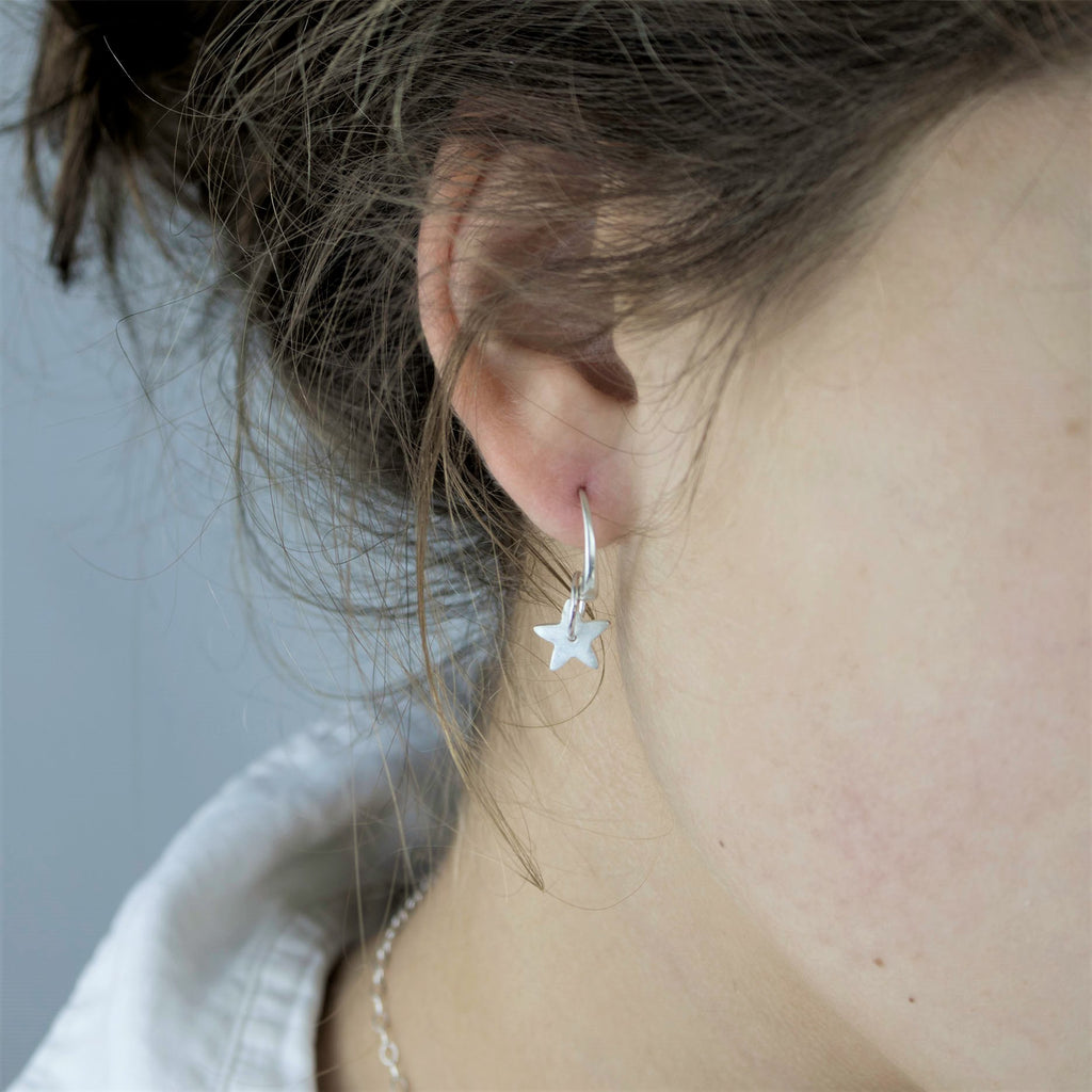 Heavenly Star Fine Silver Earrings with Silken Sheen