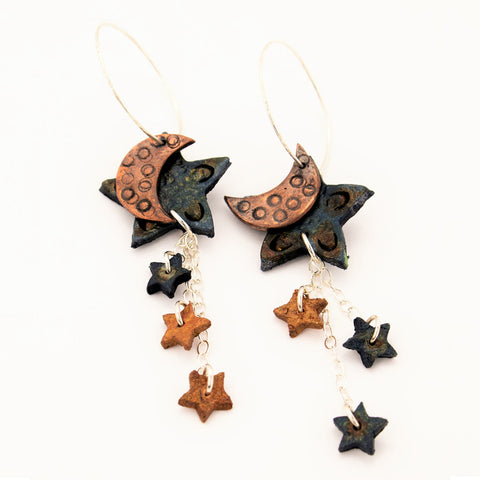 Midnight Blue Leather Star with Copper Moon and Mini Stars Strung from Sterling Silver Chain Earrings