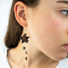 Blue Leather Star with Copper Moon and Mini Stars Strung from Sterling Silver Earrings