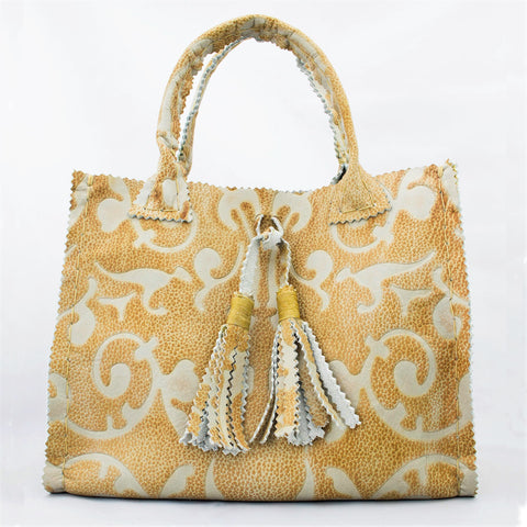 Tapestry Printed Leather Small Tote with Handmade Tassels