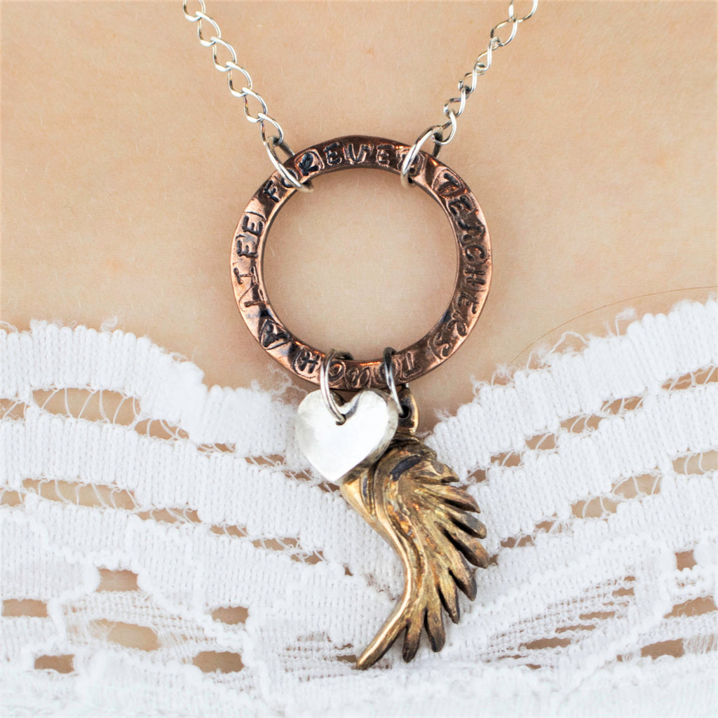 Teacher Necklace with Sterling Silver Heart, Bronze Wing and Custom Quote