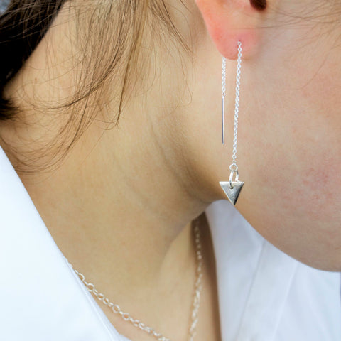 Fine Silver Triangle Drop Earrings on a Sterling Silver Cable Earring Chain
