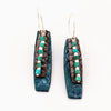 Honeycomb Stamped Peacock Blue Leather and Antique Copper with Turquoise and Sterling Silver Bead Earrings