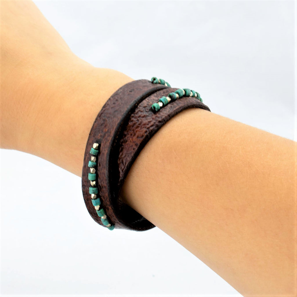 Turquoise Heishi and Fine Silver Beaded  Cognac Brown Leather Wrap Bracelet