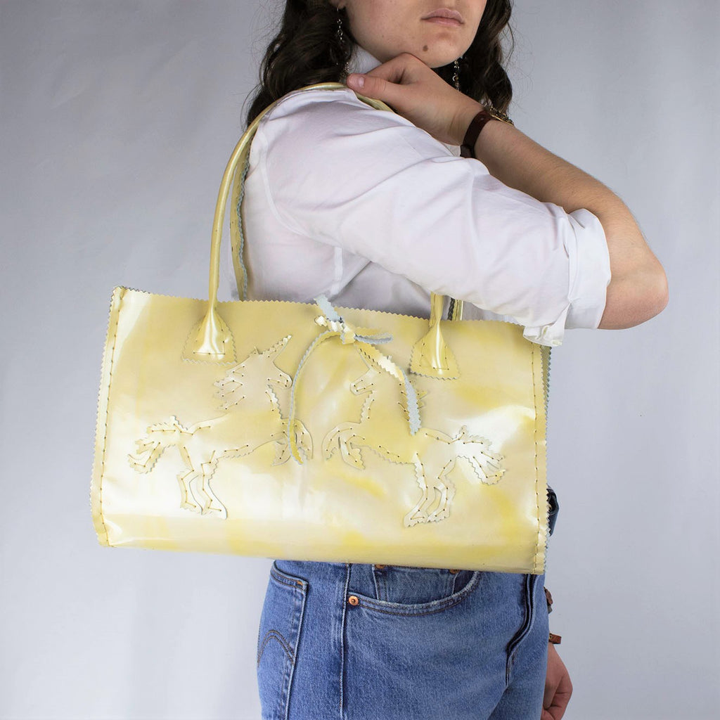 Marbled Ivory Patent Leather Purse with Unicorns