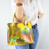 Unicorn and Stars Handbag in Holographic Gold Leather