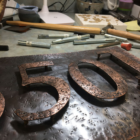 Hand Forged Copper Address Plaque with Kiln Fired Copper Metal Numbers