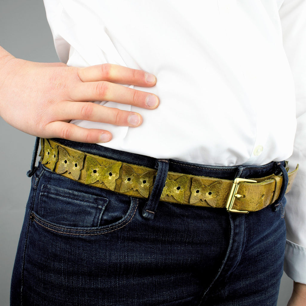 Distressed Golden Olive Vintage Leather Belt with Butterflies, Brass Rivets and Buckle