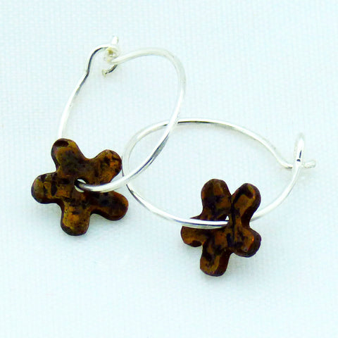 Distressed Tiny Floret Copper and Sterling Silver Hoop Earrings