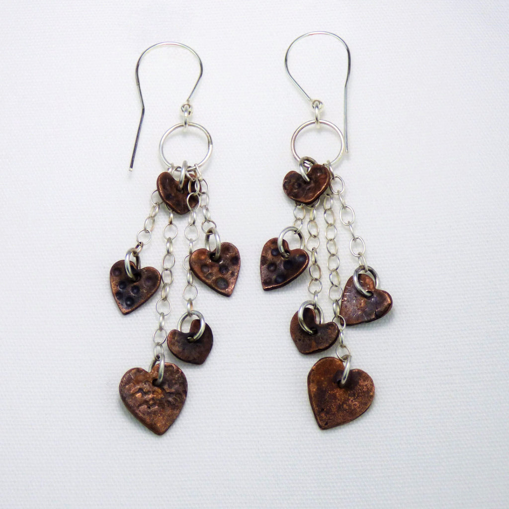 Dangle and Drop Sterling Silver Earrings with Multiple Copper Hearts