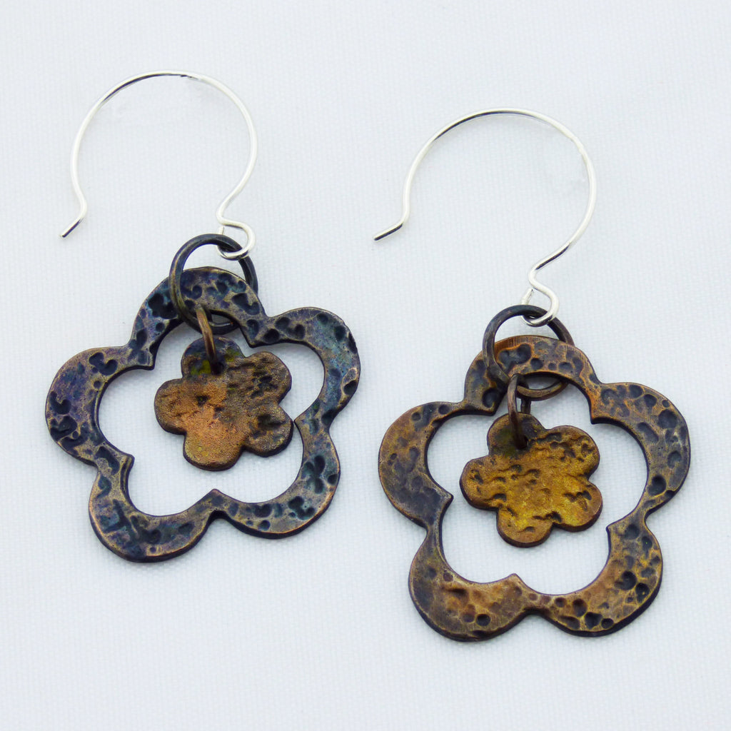 Double Flower Distressed Copper Sterling Silver French Hoop Earrings
