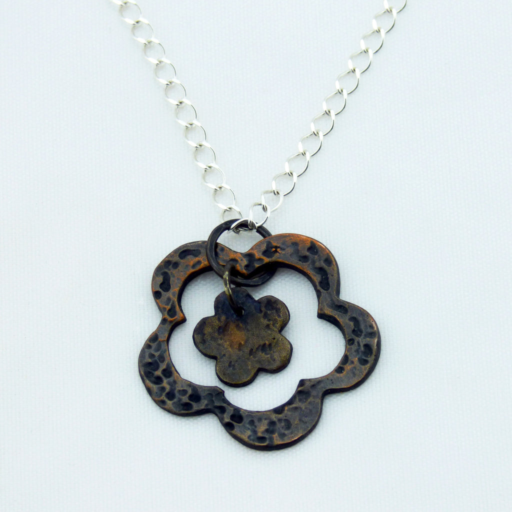 Double Flower Distressed Copper Pendant 20