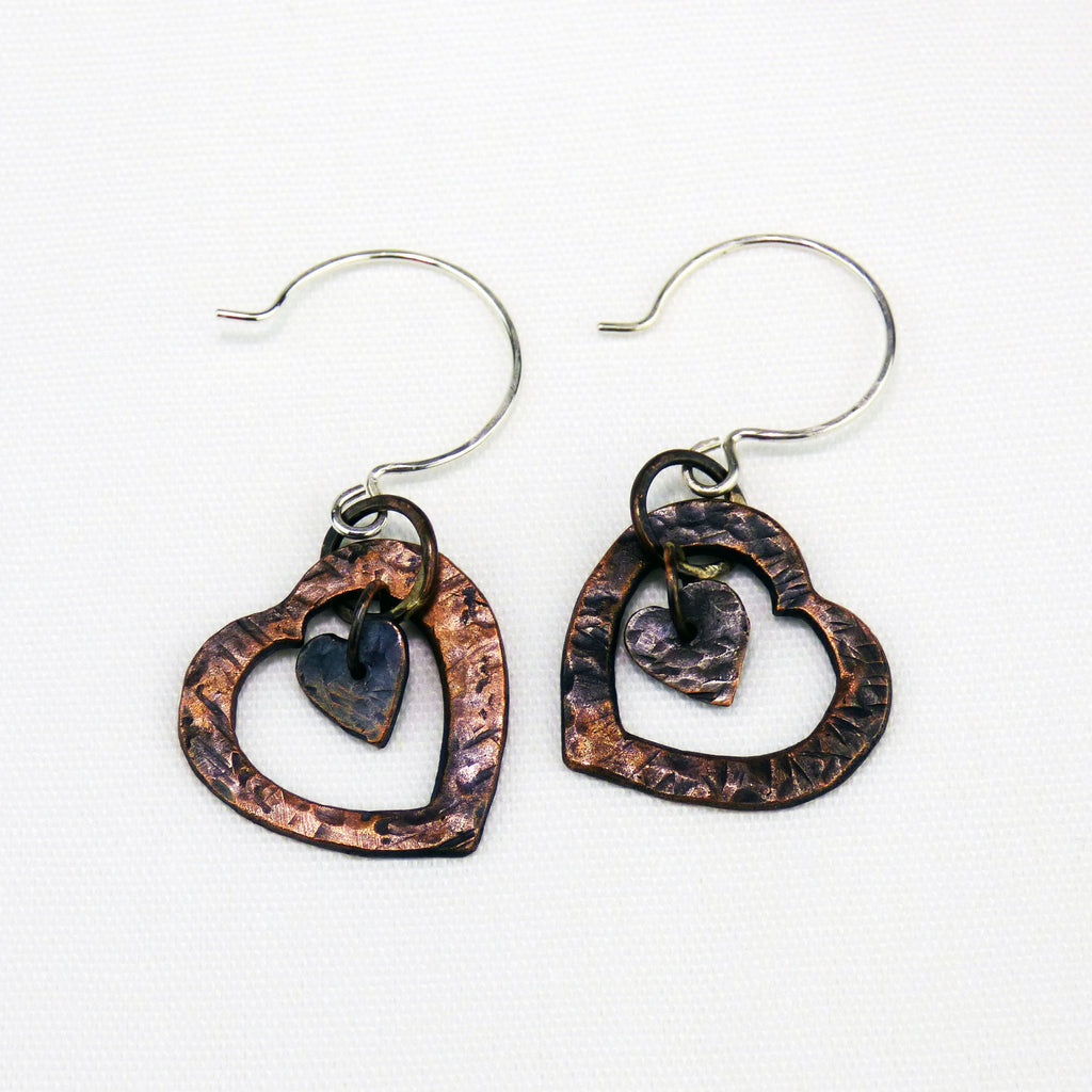Two Hearts Vintage Copper French Hoop Sterling Silver Earrings