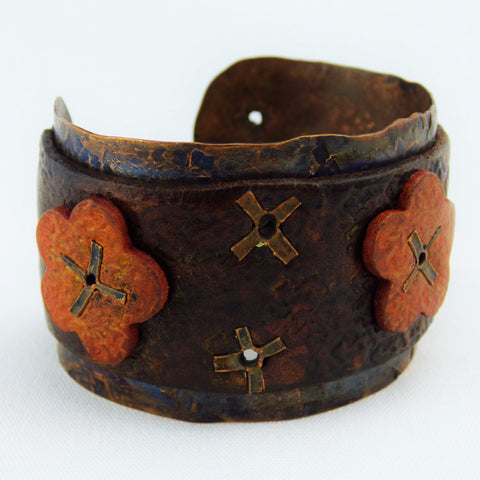 Hand Forged Copper Cuff with Distressed Leather and Flowers