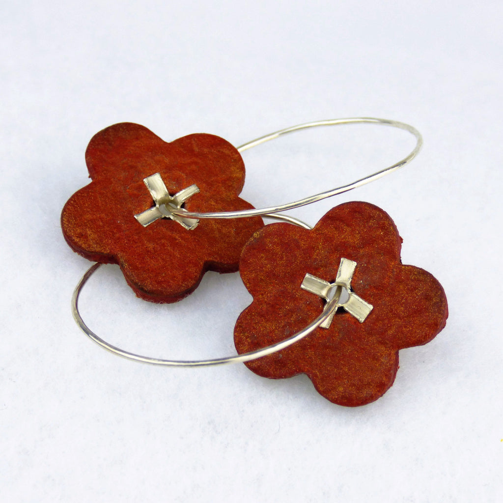 Vintage Pumpkin Orange Leather Floral Earrings with Sterling Silver Hoops and Rivets