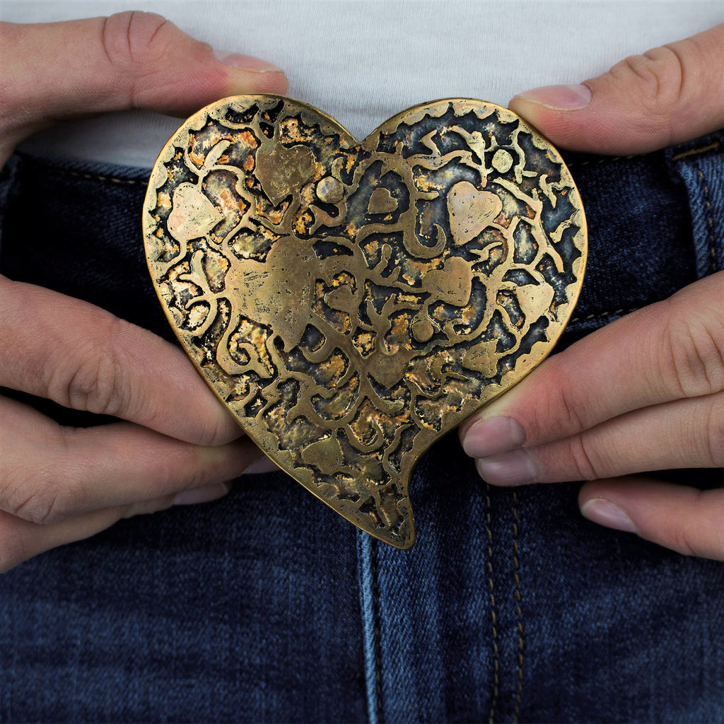 Custom Brass Heart Belt Buckle with Etched Motif