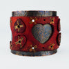 Red Vintage Heart Leather and Rustic Copper Wide Cuff