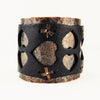 Hand Forged Copper and Black Leather Wide Wrist Cuff with Heart Motif