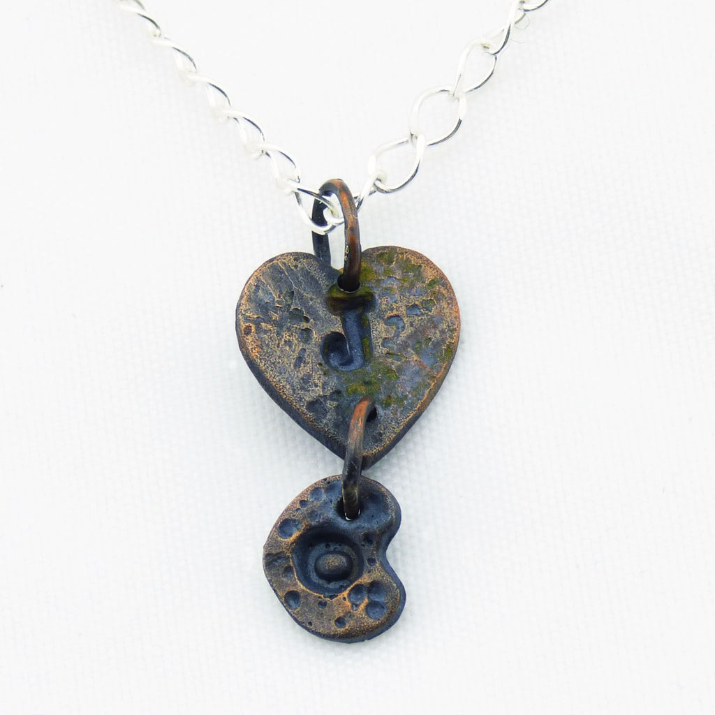 Double Heart Blackened Copper Necklace with Custom Initials