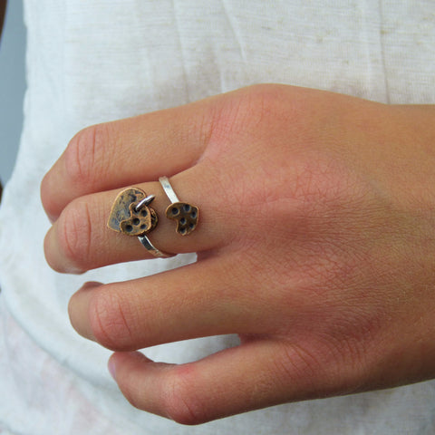 Copper Hearts and Sterling Silver Whimsy Ring
