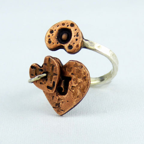 Copper Hearts and Sterling Silver Ring with Custom Initials