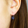 Delicate Cadet Blue Distressed Leather Stars and Sterling Silver Hoop Earrings