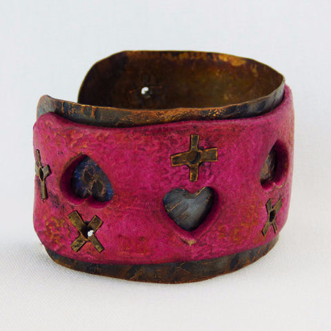 Pink Sorbet Leather and Copper Cuff with Hearts