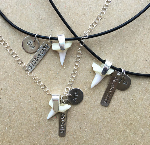 Custom Sharks Teeth Necklaces with Monogramming and Anniversary Dates in Sterling Silver and Leather