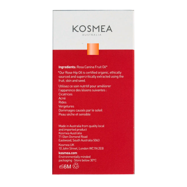 Kosmea Australia Size 20ml Certified Organic Rose Hip Oil back package