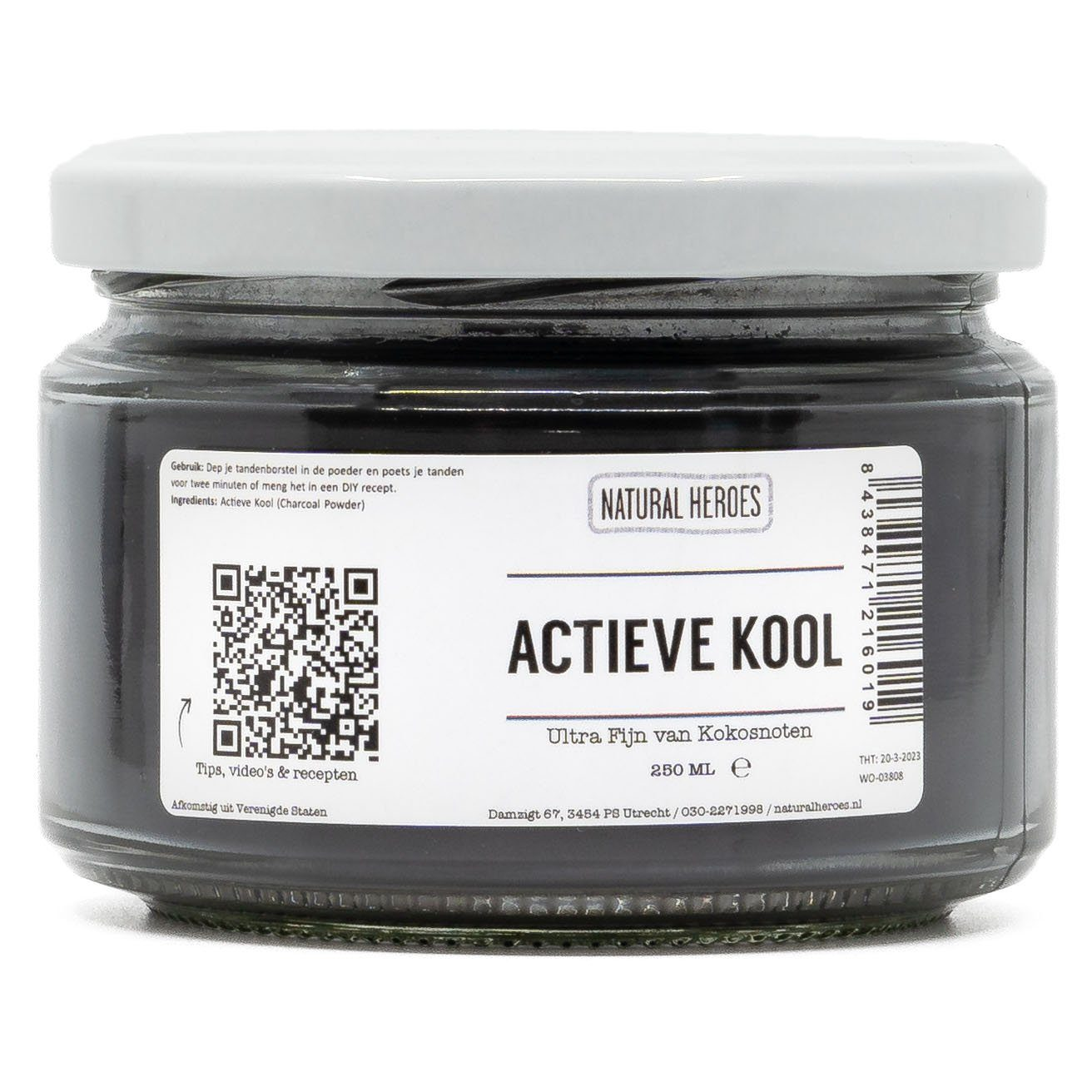 Actieve Kool Poeder (Ultra Fijn & Food Grade) Natural Heroes 250 ml