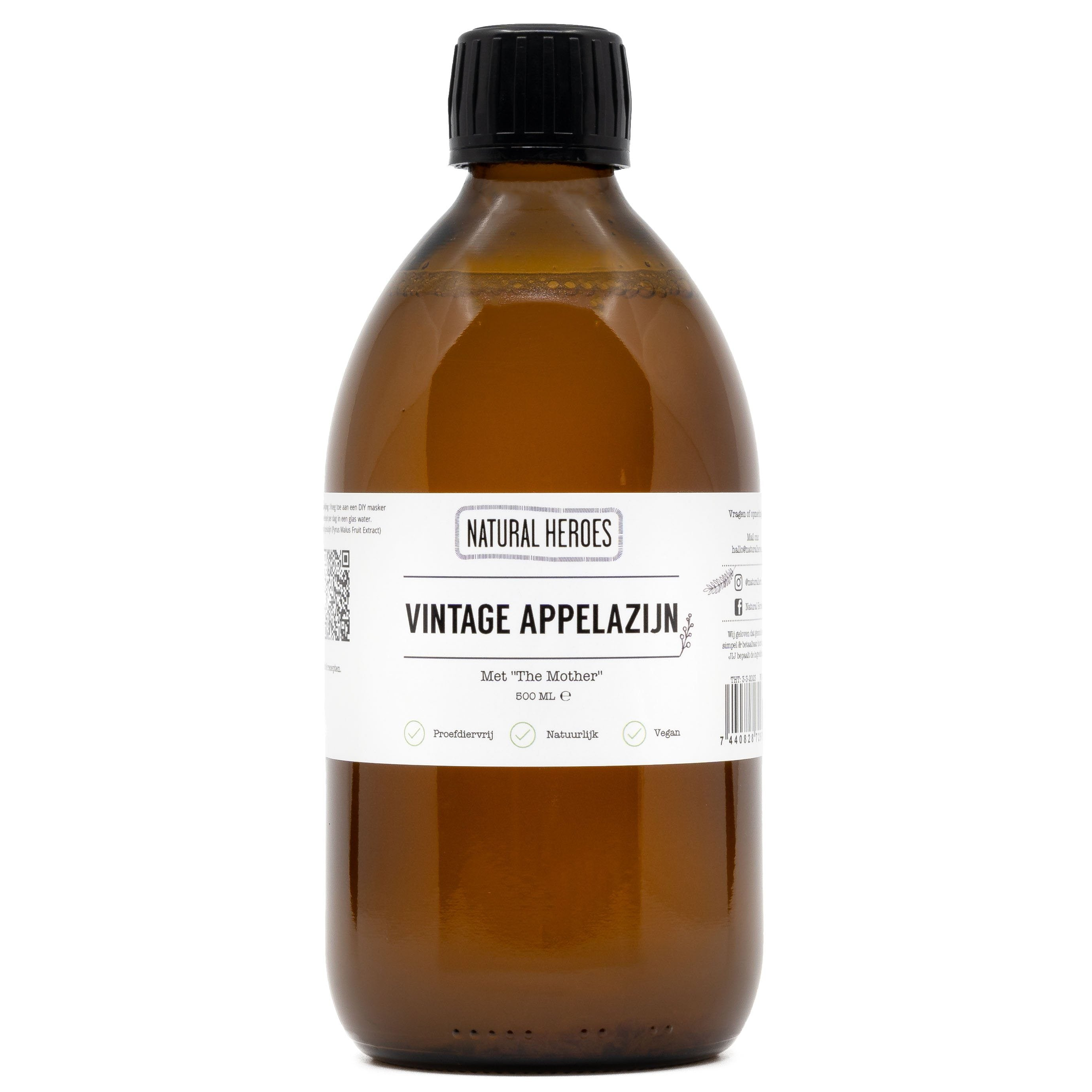 Apple Cider Vinegar, Vintage - Met ''the Mother''. Natural Heroes 500 ml