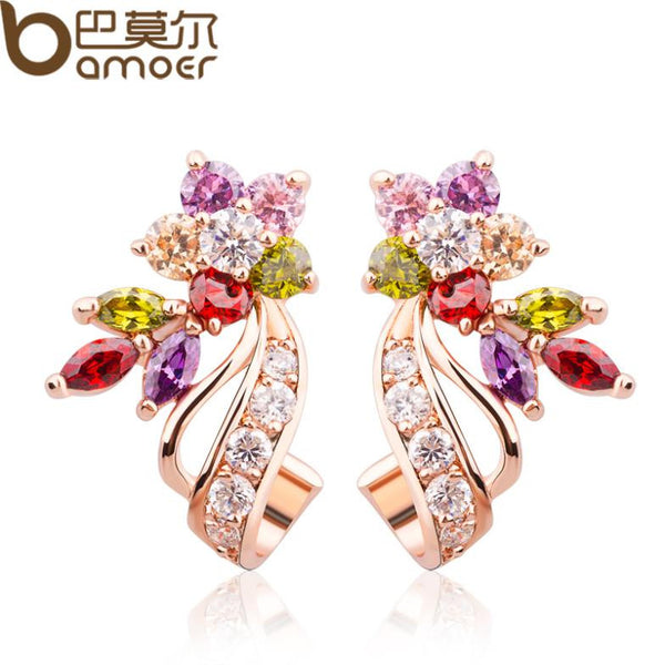 18K Real Gold Plated Gold Flower Stud Earrings with Multicolor AAA Zircon