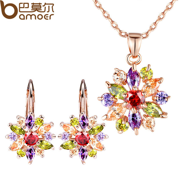 18k Gold Plated Flower Jewelry Sets with AAA Cubic Zircon