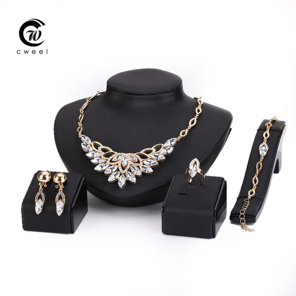 18K Gold Plated Fashion Party Rhinestone Necklace Earring Sets Bangle Ring
