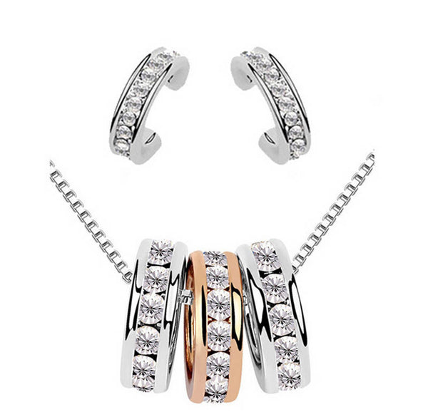 18K Silver Plated Stub Earrings Crystal Necklace Jewelry Sets For Women
