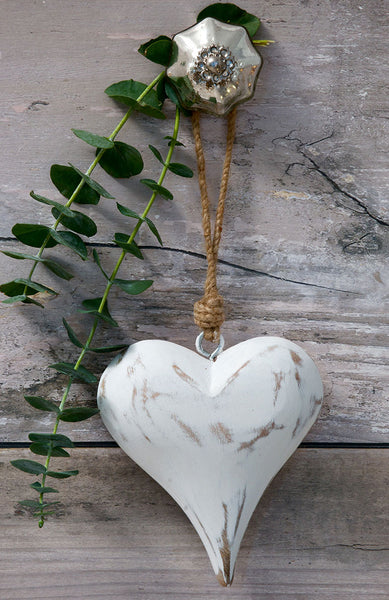 Retreat White Hanging Heart
